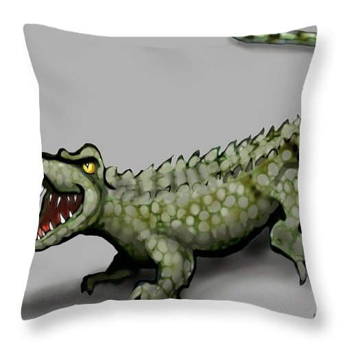 Crocodile Throw Pillow featuring the greeting card Crocodile by Kevin Middleton