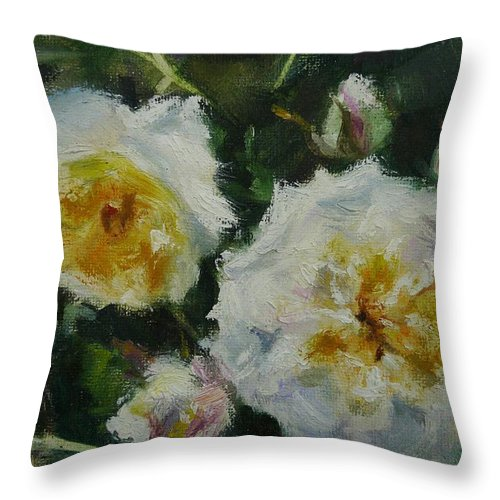 Rose Throw Pillow featuring the painting Crocus Rose by Veronica Coulston