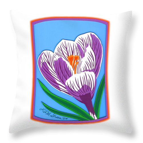 Nature Throw Pillow featuring the drawing Crocus Too by Lucyna A M Green