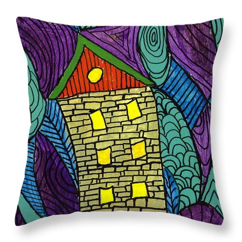 House Throw Pillow featuring the painting Crooked Yellow Brick House by Wayne Potrafka