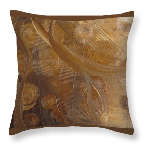 Abstract Throw Pillow featuring the painting Crop Circles Chocolate Buttercream by Martha Thompson