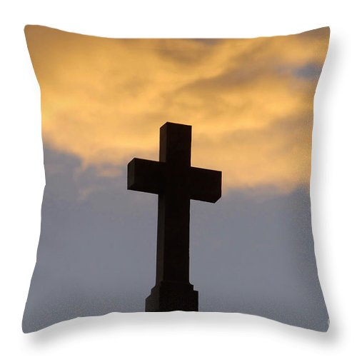 Cross Throw Pillow featuring the photograph Cross And Sky by David Lee Thompson