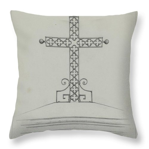 Throw Pillow featuring the drawing Cross by Arelia Arbo