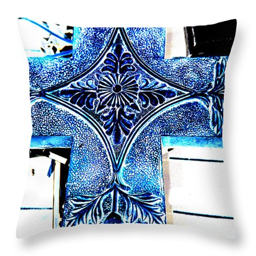 Photography Throw Pillow featuring the photograph Cross In Blue by Susanne Van Hulst