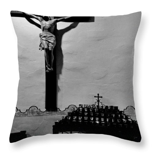 Cross Throw Pillow featuring the photograph Cross Mission San Diego De Alcala by Christine Till