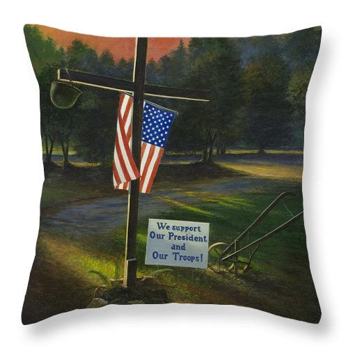 Cross Throw Pillow featuring the painting Cross Of Remembrance by Randy Welborn
