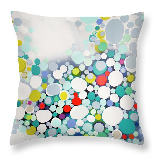 Abstract Throw Pillow featuring the painting Cross The Line by Claire Desjardins