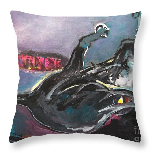 Cat Paintings Throw Pillow featuring the painting Crossed Eyed Cat by Seon-Jeong Kim
