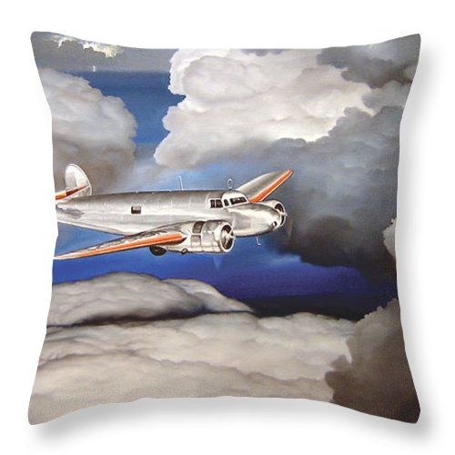 Aviation Throw Pillow featuring the painting Crossing Over Amelia Earharts Final Flight by Marc Stewart