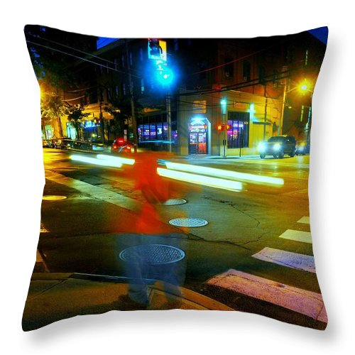 Urban Landscape Throw Pillow featuring the photograph Crossing Pearl by Diana Angstadt