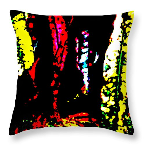 Square Throw Pillow featuring the digital art Croton 2 by Eikoni Images