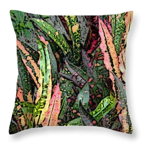 Square Throw Pillow featuring the digital art Croton 3 by Eikoni Images