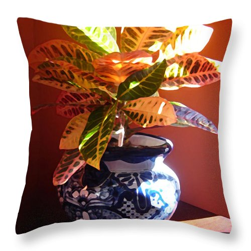 Potted Plant Throw Pillow featuring the photograph Croton In Talavera Pot by Amy Vangsgard
