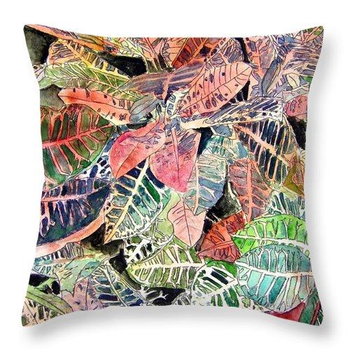 Croton Throw Pillow featuring the painting Croton tropical art print by Derek Mccrea