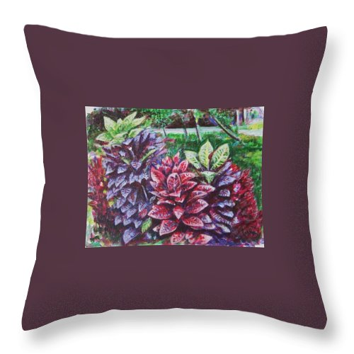 Landscape Throw Pillow featuring the painting Crotons 1 by Usha Shantharam