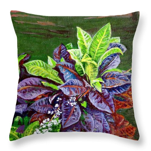 Crotons Throw Pillow featuring the painting Crotons 2 by Usha Shantharam