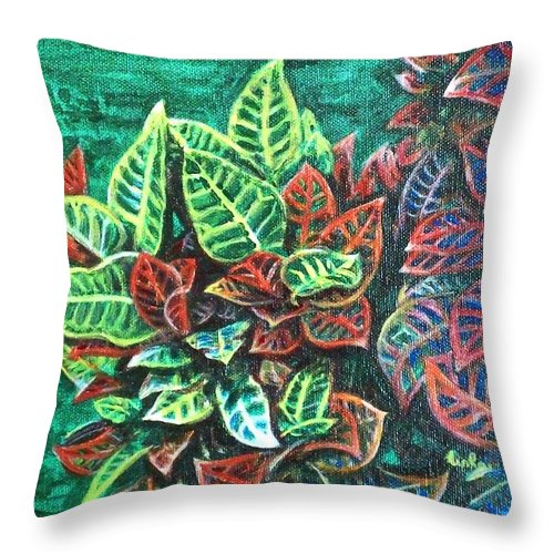 Crotons Throw Pillow featuring the painting Crotons 3 by Usha Shantharam