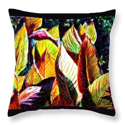 Plants Throw Pillow featuring the painting Crotons Sunlit 2 by Usha Shantharam