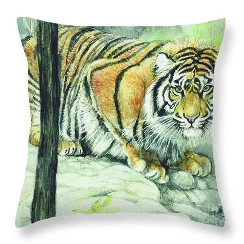 Crouching Throw Pillow featuring the painting Crouching Tiger by Morgan Fitzsimons