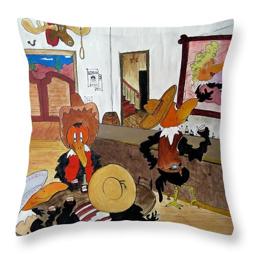 Ravens Throw Pillow featuring the painting Crow - Bar by Patrick Trotter