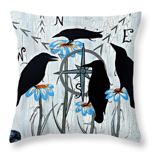 Crow Throw Pillow featuring the painting Crow Flowers by Jean Fry