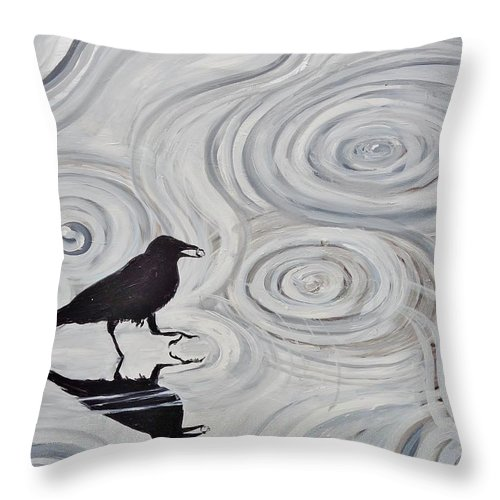 Crow Throw Pillow featuring the painting Crow In A Rain Puddle by Shannon Lee