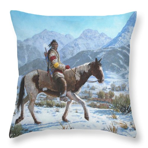 Crow Warrior Throw Pillow featuring the painting Crow on the Yellowstone river by Scott Robertson