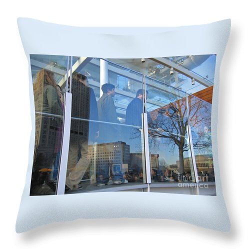 London Throw Pillow featuring the photograph Crowd Queuing Up by Ann Horn