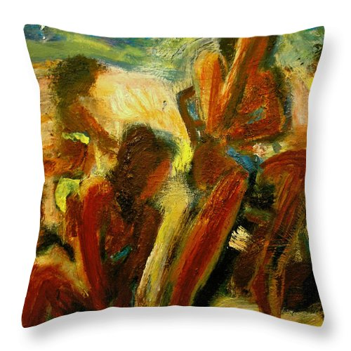 Dornberg Throw Pillow featuring the painting Crowded Beach by Bob Dornberg