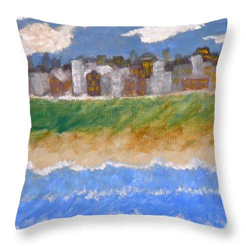 Seascape Throw Pillow featuring the painting Crowded Beaches by R B