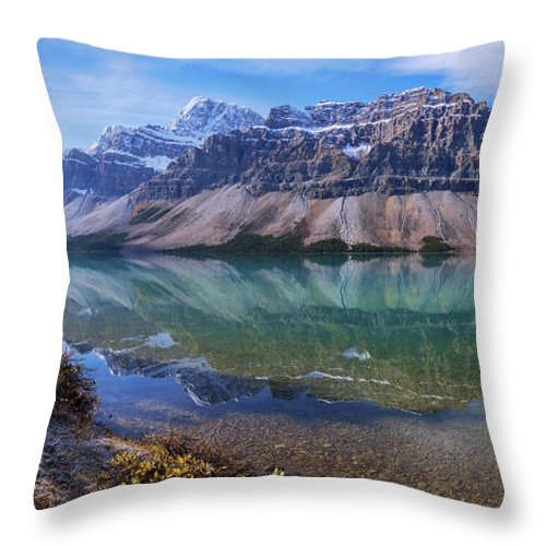 Crowfoot Reflection Throw Pillow featuring the photograph Crowfoot Reflection by Chad Dutson