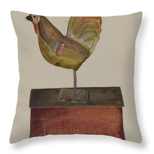 Throw Pillow featuring the drawing Crowing Cock by Chris Makrenos