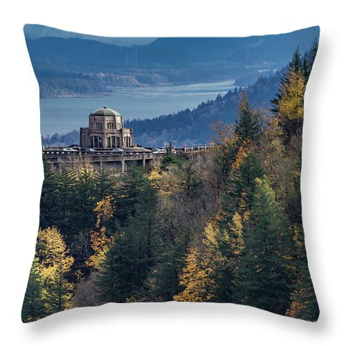 Japanese Gardens Throw Pillow featuring the photograph Crown Point In The Fall by George Herbert