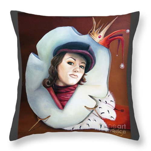 Crown Throw Pillow featuring the painting Crown by Yana Sadykova