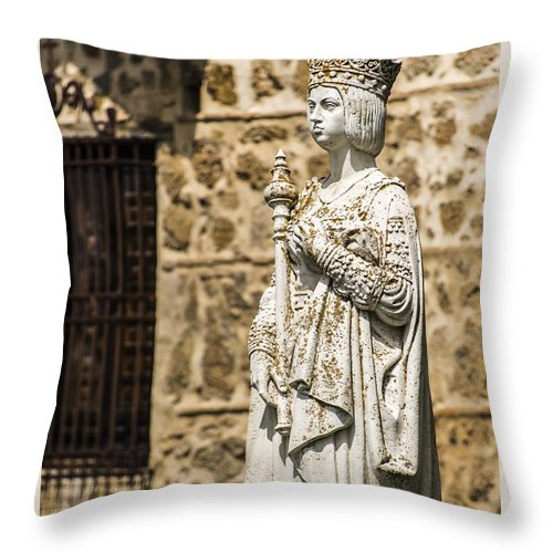 Statue Throw Pillow featuring the photograph Crowned Statue - Toledo Spain by Jon Berghoff