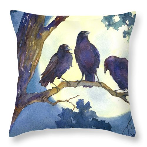 Crows Throw Pillow featuring the painting Crows In Moonlight by Peggy Wilson