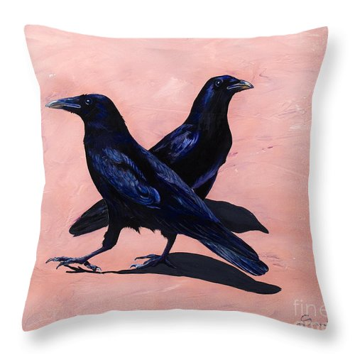 Crows Throw Pillow featuring the painting Crows by Sandi Baker