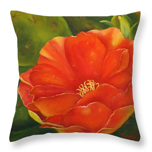 Cactus Throw Pillow featuring the painting Cruces Bloom by Teresa Lynn Johnson