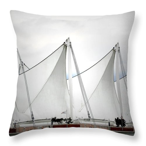 Vancouver Throw Pillow featuring the photograph Cruise Ship Terminal Vancouver Canada by Christine Till
