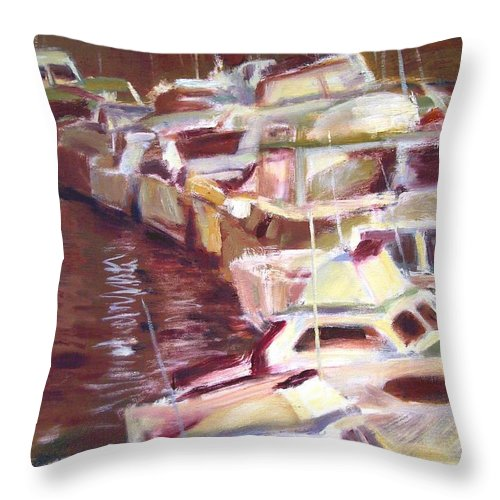 Dornberg Throw Pillow featuring the painting Cruisers Rafted Together by Bob Dornberg