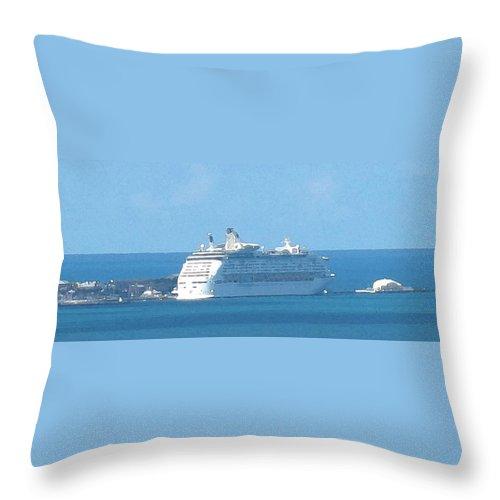 Ship Throw Pillow featuring the photograph Cruiseship At Dockyard Bermuda by Ian MacDonald
