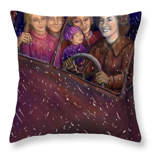 Sisters Throw Pillow featuring the drawing Cruisin' With The Big Kids by Dawn Senior-Trask