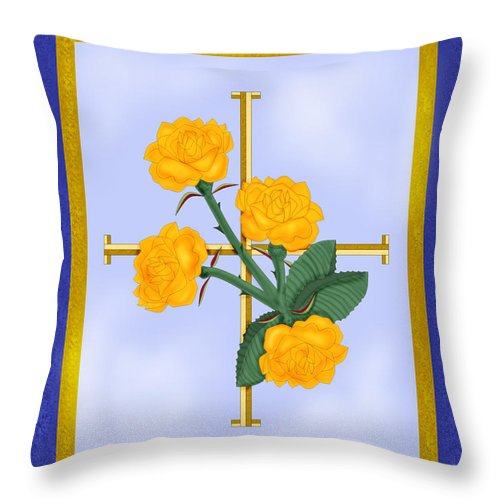 Golden Roses Throw Pillow featuring the painting Crusader Cross And Four Gospel Roses by Anne Norskog