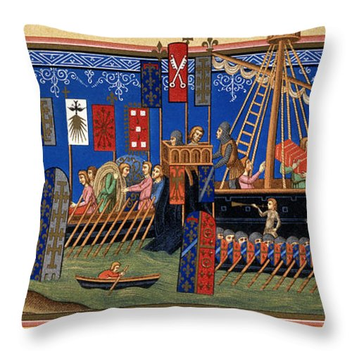 14th Century Throw Pillow featuring the painting Crusades 14th Century by Granger