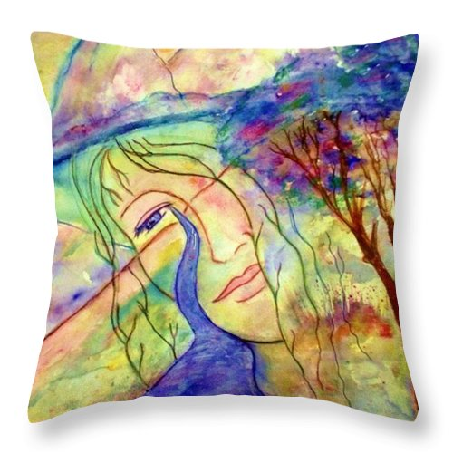 Spirituality Throw Pillow featuring the painting Cry Me A River by Robin Monroe