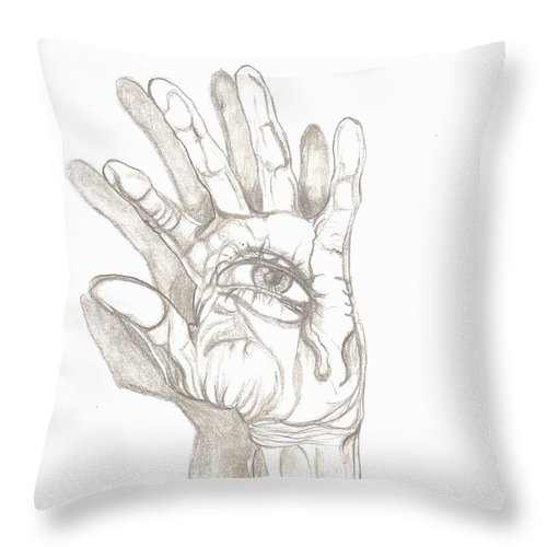 Hand Throw Pillow featuring the drawing Crying Hand by Americo Salazar