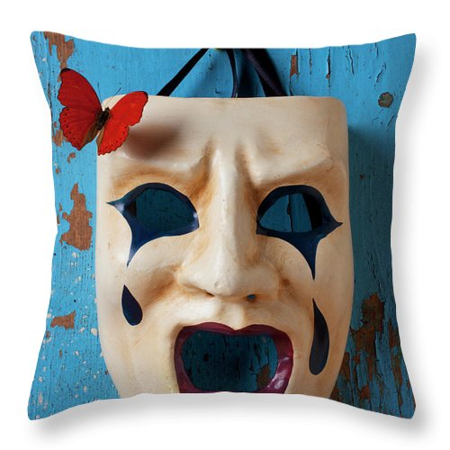 Crying Throw Pillow featuring the photograph Crying Mask And Red Butterfly by Garry Gay