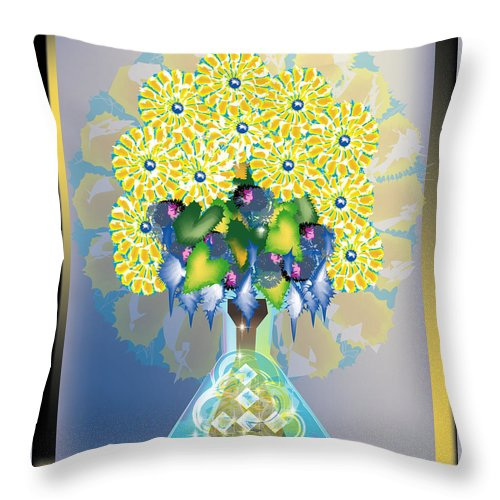 Flowers Throw Pillow featuring the digital art Crystal Boquet by George Pasini