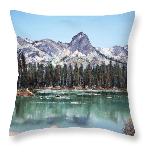 Mountain Throw Pillow featuring the painting Crystal Crag From Twin Lakes Mammoth Ca by Arline Wagner