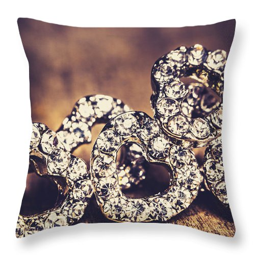 Jewelry Throw Pillow featuring the photograph Crystal Heart Earrings by Jorgo Photography - Wall Art Gallery